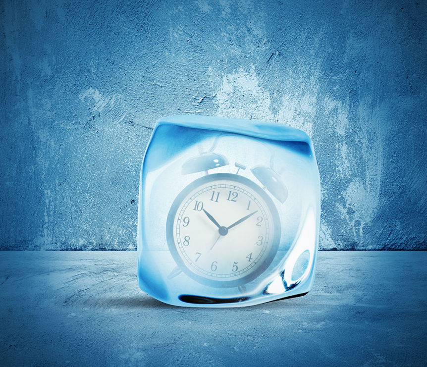 A clock frozen in time representing a race to prepare for winter
