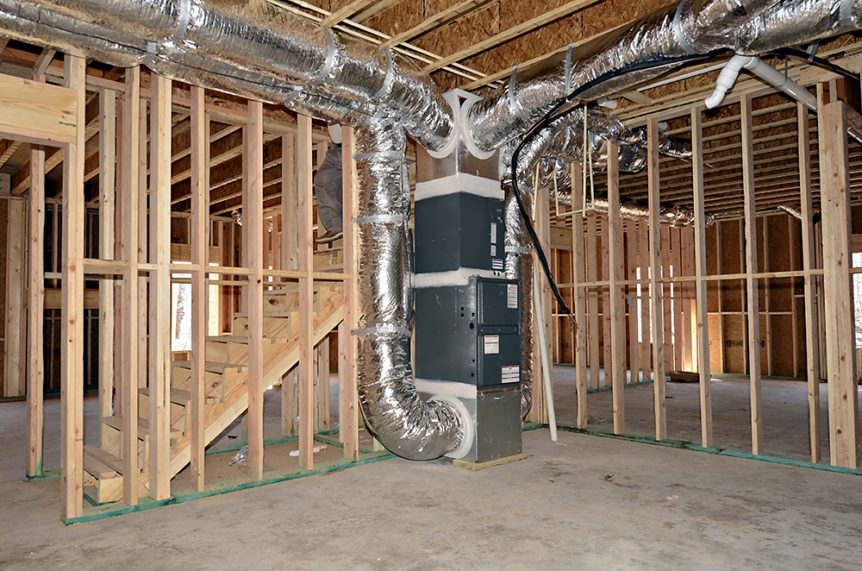 A home heating system installed before the home is finished